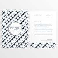 Folleto de empresa con patrón de líneas diagonales.