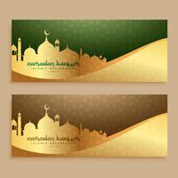 beautiful ramadan kareem golden banners
