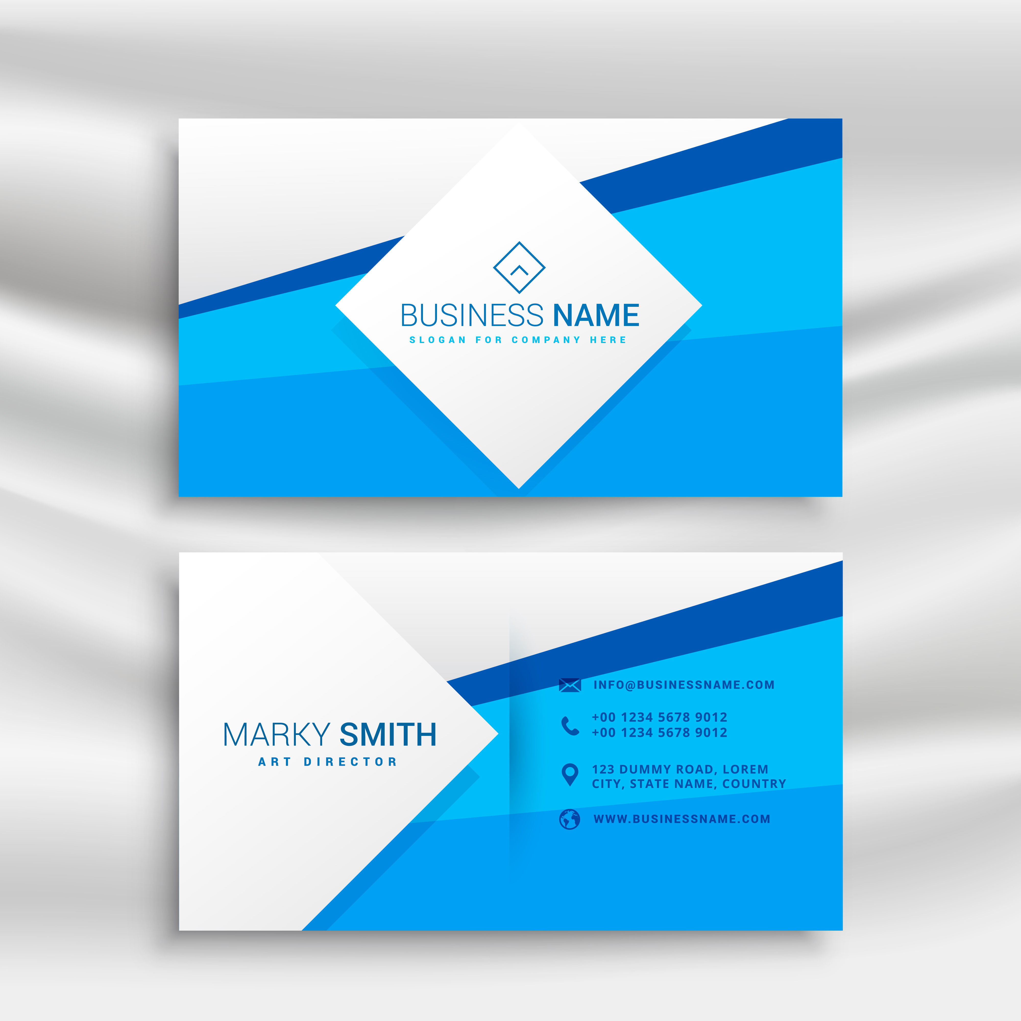 blue corporate business card template - Download Free Vector Art ...