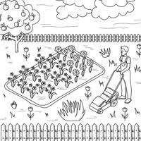 Svart och vit bakgrund av en jordbrukare