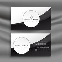 black and white business card in wavy style