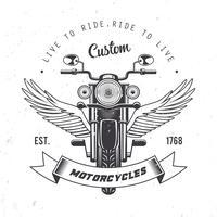 Vettore d'annata dell'emblema del motociclo