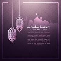 Fondo de ramadan con lamparas colgantes
