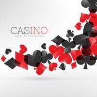 símbolos de cartas de jogar de cassino flutuando em fundo cinza