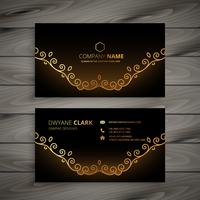 golden floral business card vector design illustration