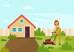 A Girl With Lawn Mower  vector