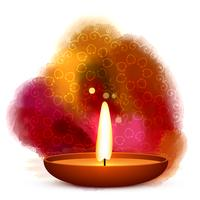 diwali diya placed in water color background vector