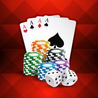 spelkort med kasinomynt och tärningar