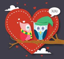 Owls in Love Vector Design