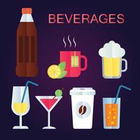Vector plano de bebidas