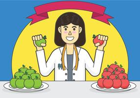 Cheerful nutritionist vector