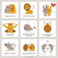 Cute Cartoon Creatures In Love Tarjetas de San Valentín Vector Set