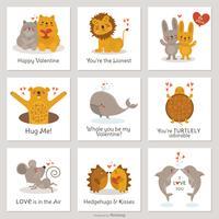 Cute Cartoon Creatures In Love Valentine Cards Vector Set
