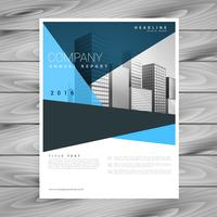 abstract geometric blue brochure flyer design template