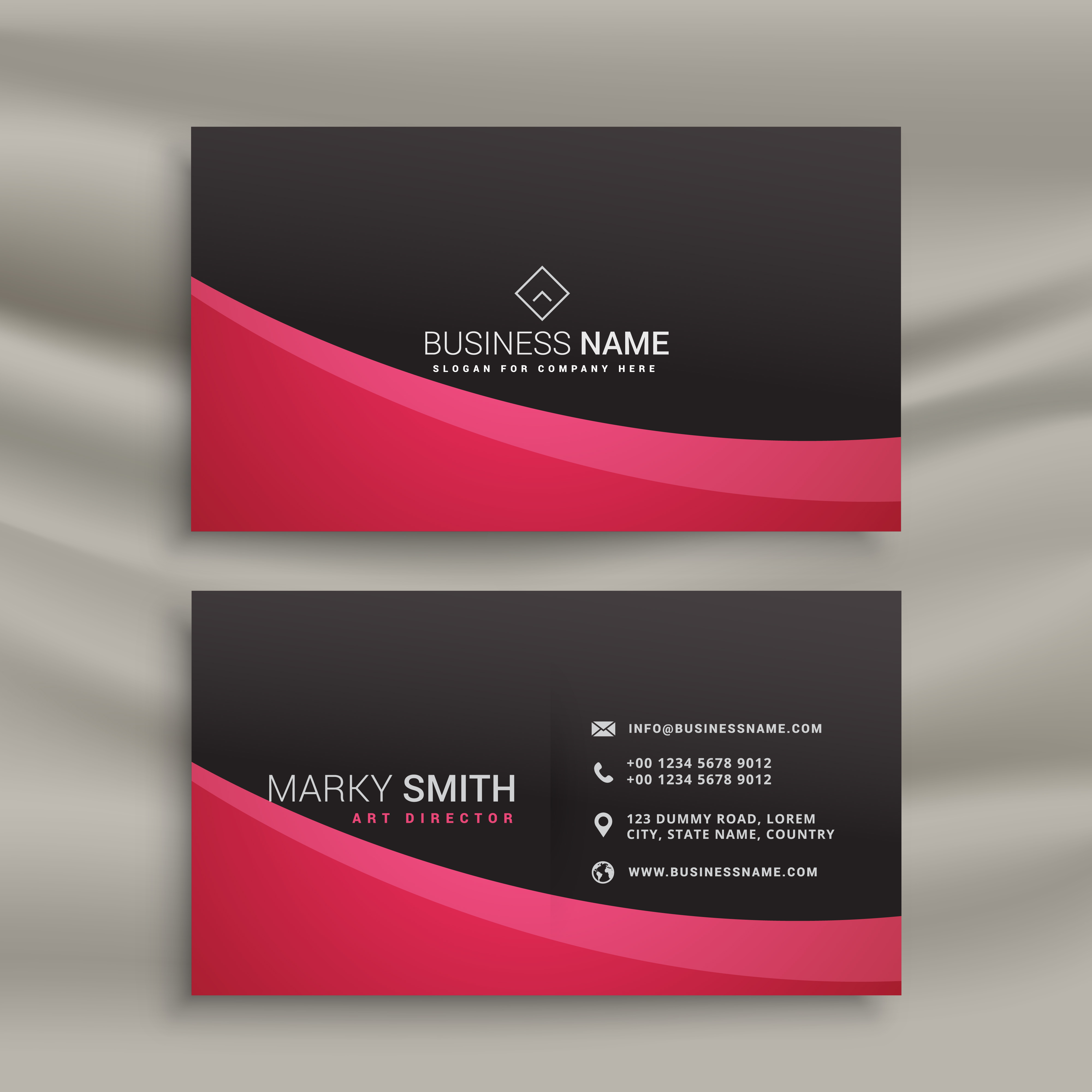 dark business card design with wavy shape - Download Free Vector Art ...