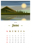 June 2018 Landscape Monthly Calendar