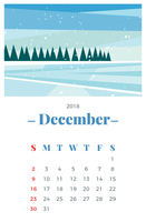 Calendario mensual de diciembre de 2018