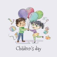 Nette Kinder, die mit Ballonen für Vektor der Kinder Tages tanzen