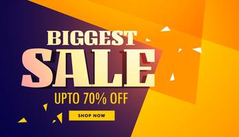 biggest sale banner with yellow and purple background