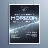 Folleto del evento musical universo fiesta espacial para el nuevo año