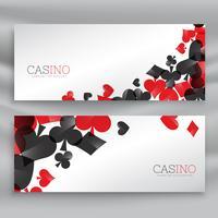 bannières de casino avec symboles de cartes à jouer