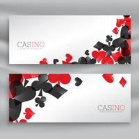 Banners de casino con símbolos de naipes