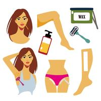 Mulheres livres removem zonas de cabelo com ilustração vetorial de depilação