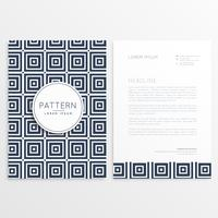 design de papel timbrado elegante com padrões quadrados