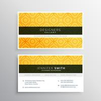 abstract yellow business card template with pattern