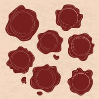 Set Of Red Wax Stamp Vectors