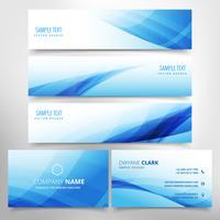 Conjunto estacionario de ola azul que incluye tarjeta de visita y encabezados