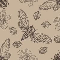 Cicada Hand Drawn Seamless Pattern
