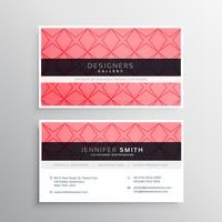 pink business card template with pattern