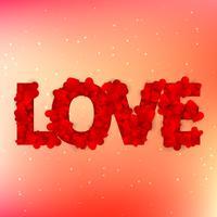 kärlek text skrivet med hjärtan vektor design illustration