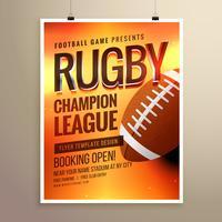 modelo surpreendente de design de cartaz de flyer de vetores de rugby com evento det