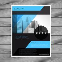 modello di volantino brochure aziendale blu e nero