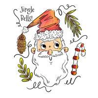 Personagem de Papai Noel fofa sorrindo com urso longo e elementos de Natal ao redor