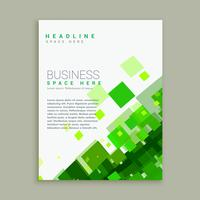 business brochure template with bright green mosaic shapes
