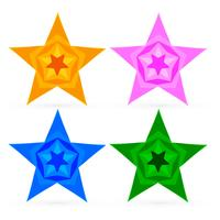 colorful abstract stars set vector design