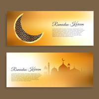 ramadan kareem and wid banners in golden colors