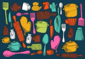 Vectores de utensilios de cocina de cocina