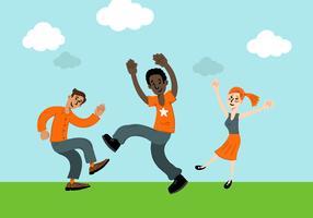Glad Dansande Folk Vektor