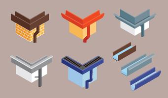Roof Gutter Vector Flat Illustration