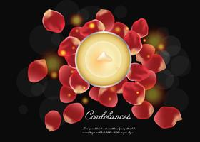 Condolences With Candle And Petals vector