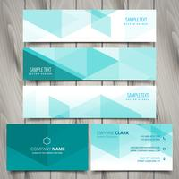 set of blue polygonal business stationery vectors