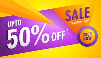 banner de venda amarelo com formas geométricas