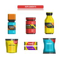 Sport And Gym Fitness Supplements Vector Collection