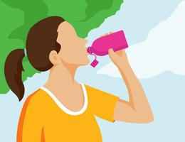 Woman drinking illustration