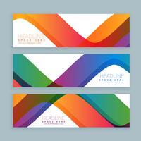 conjunto de três banners de onda colorida. Modelo de banners