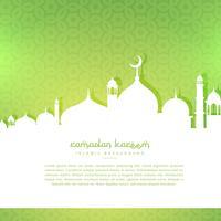 mosquée silhoutte en fond vert